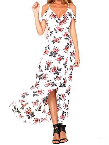 9a3ac39274db2 Glamaker Women's Sexy Cold Shoulder Strap V Neck Boho Floral Dress ...