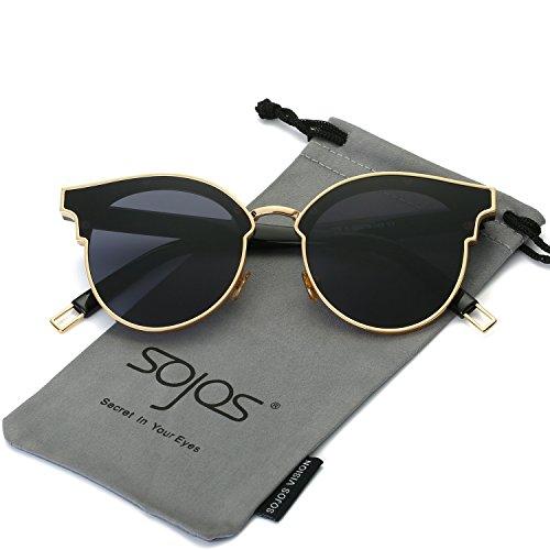 6555c42c71b SojoS Cat Eye Mirrored Flat Lenses Ultra Thin Light Metal Frame ...