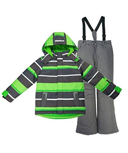 01d37864acb3 M2C Girls Thicken Warm Hooded Striped Ski Snowsuit Jacket   Pants ...