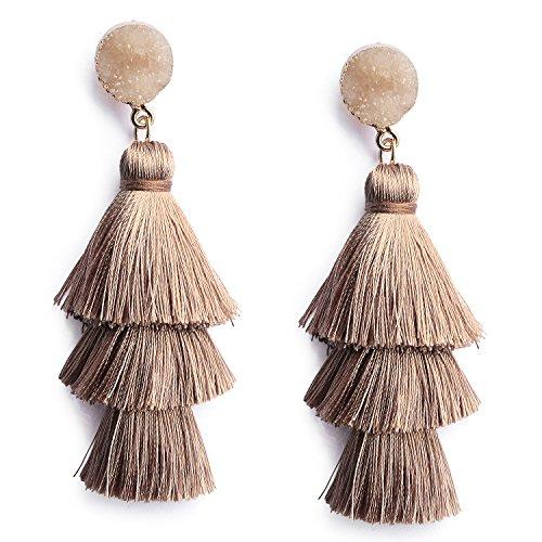 71940796cde67b Me&Hz Bohemian Tiered Thread Tassel Earrings Fashion Brown Chandelier Drop  Dangle Earrings for Women Girls