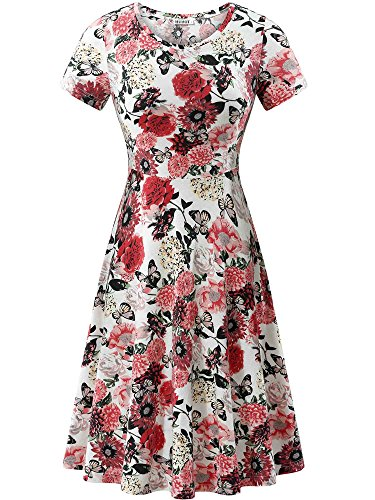 c0a09fcafa15 It can be worn for any occasion brand name huhot material:Solid: 95%Cotton  5%Spandex Floral:94%Polyester 6%Spandex Type:Short Sleeve Midi Dress ...